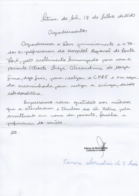 Paciente passa por cirurgia e elogia atendimento do HR de Ponta Porã