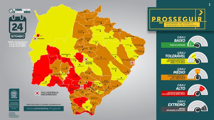 Prosseguir: Governo de Mato Grosso do Sul atualiza bandeiras dos municípios