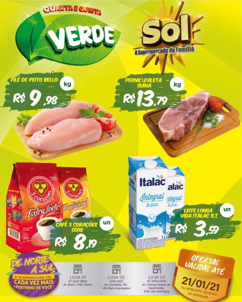 Supermercado Sol e as ofertas da quarta e quinta verde