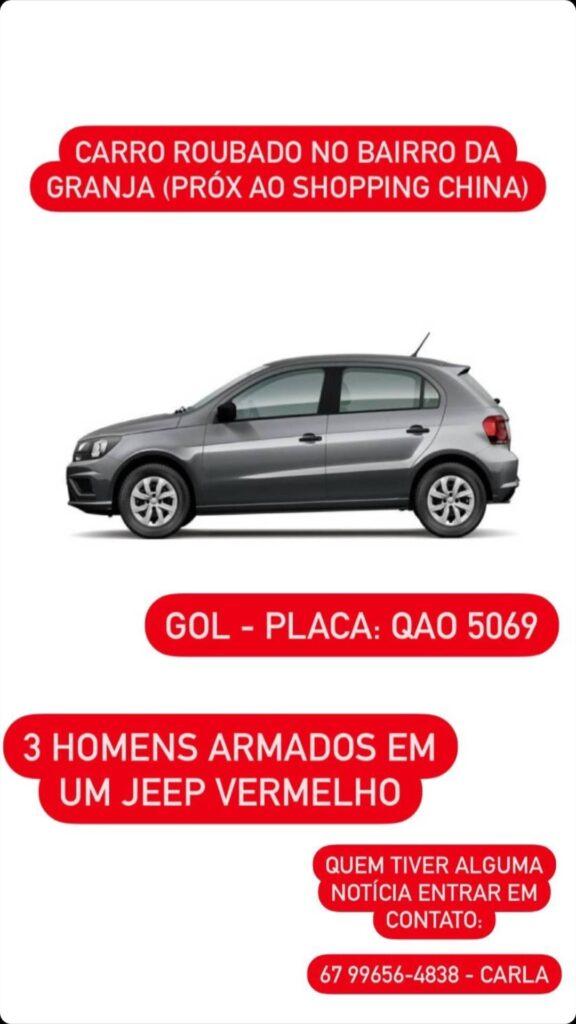 Em Ponta Porã, 03 homens armados roubam carro no bairro da Granja