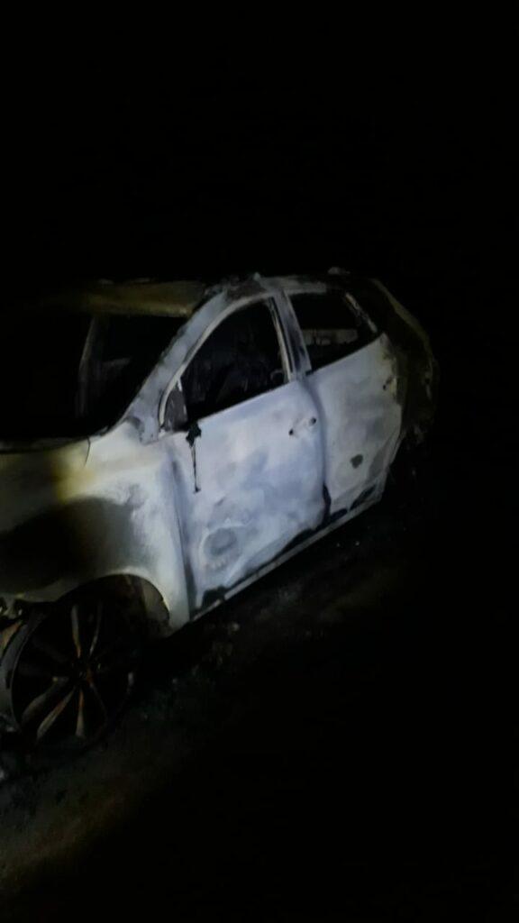 Carro queimado é encontrado próximo ao Rodoanel de Ponta Porã