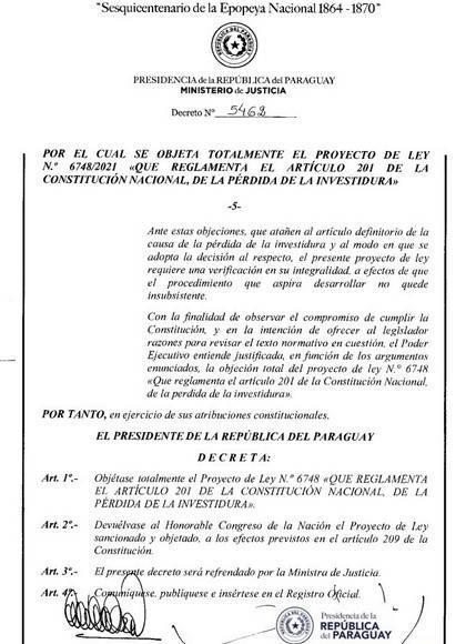Abdo Benítez veta ley de autoblindaje por colisionar con la Constitución