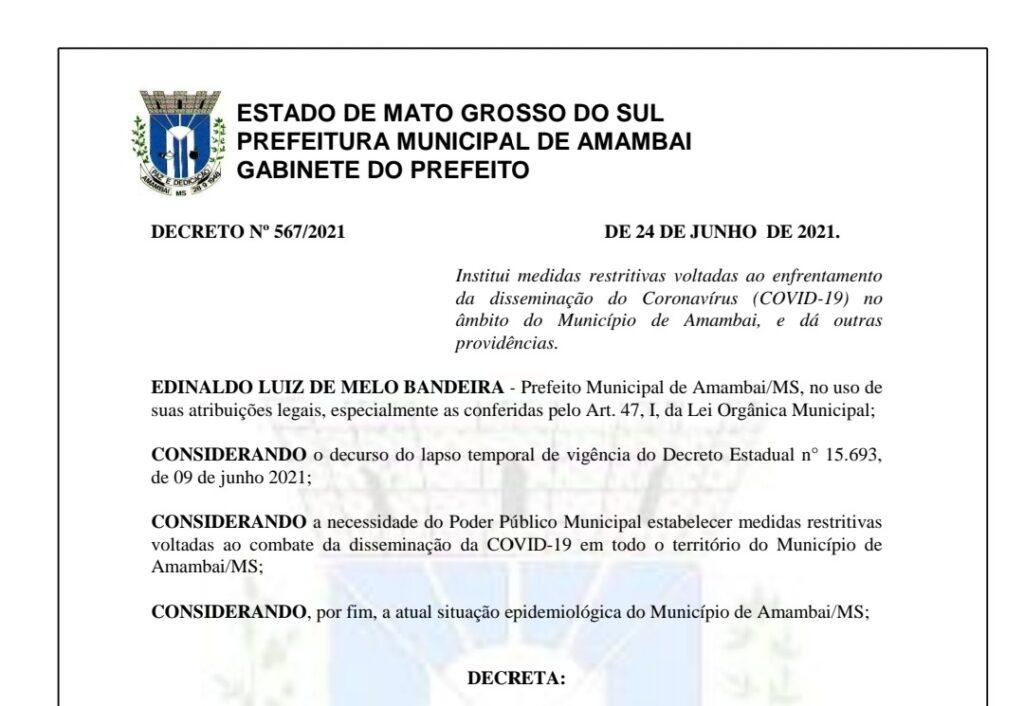 Em Amambai, prefeitura divulga novo Decreto para enfrentamento à COVID-19