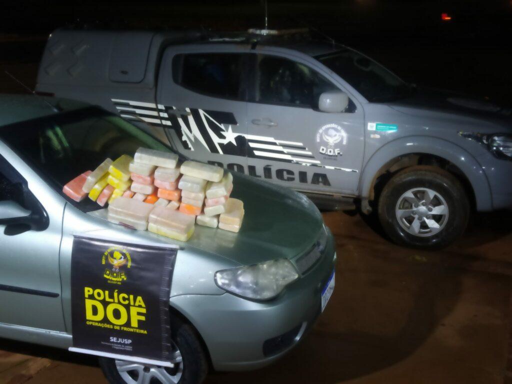 DOF apreende carro com pasta base de cocaína em Ponta Porã