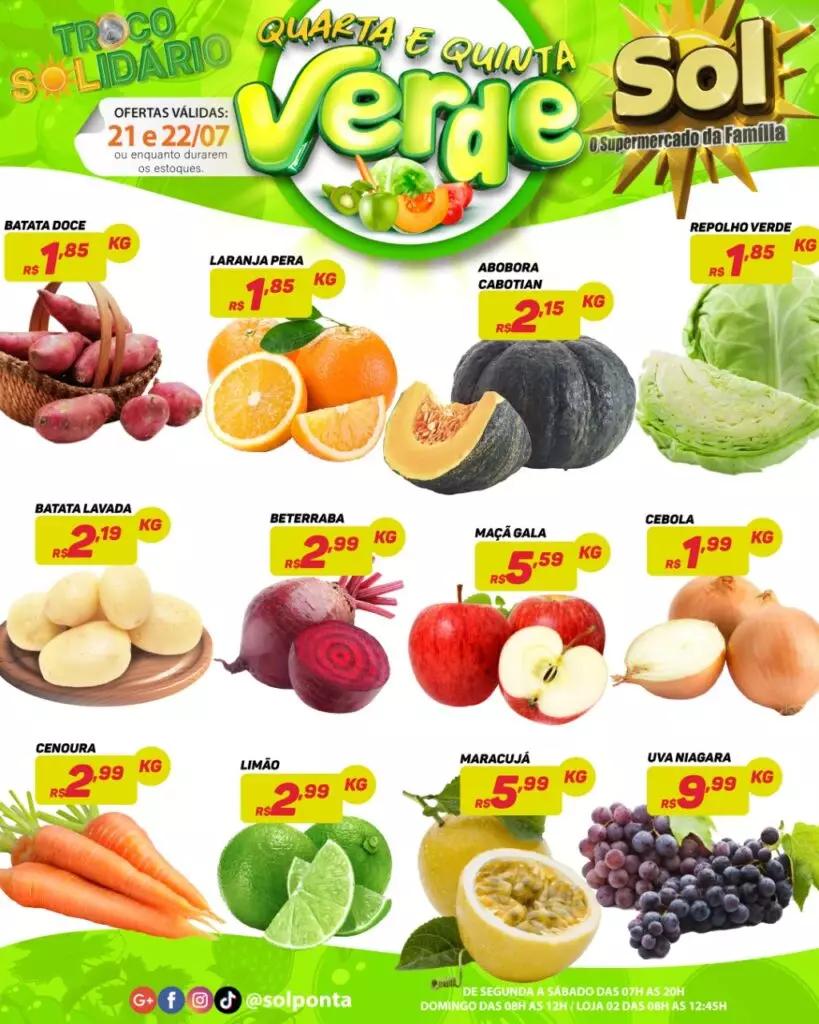 Confira as ofertas da quinta verde do Supermercado Sol