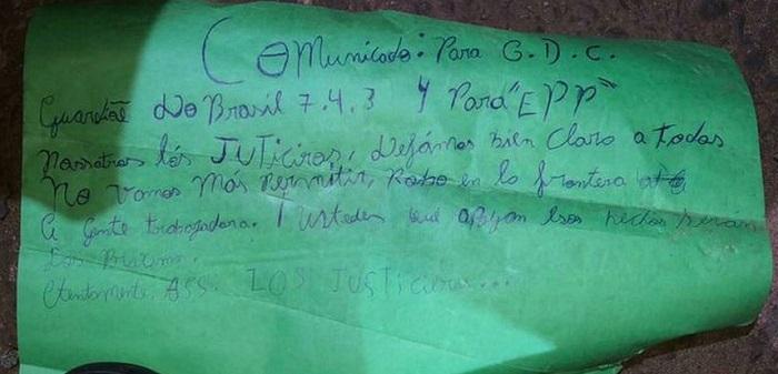 Irmãos são executados e grupo de extermínio que age na fronteira Brasil/Paraguai deixa novo bilhete
