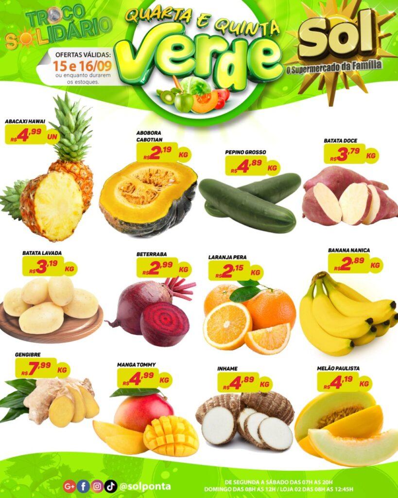 Supermercado Sol e as ofertas da quinta verde