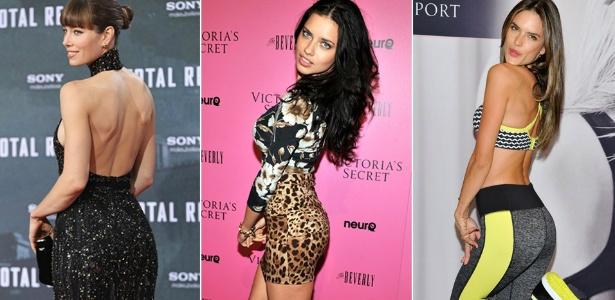 Jessica Biel, Adriana Lima e Alessandra Ambrósio têm os bumbuns mais bonitos, de acordo com Dr. Rey.foto:Getty Images/ Montagem/ UOL