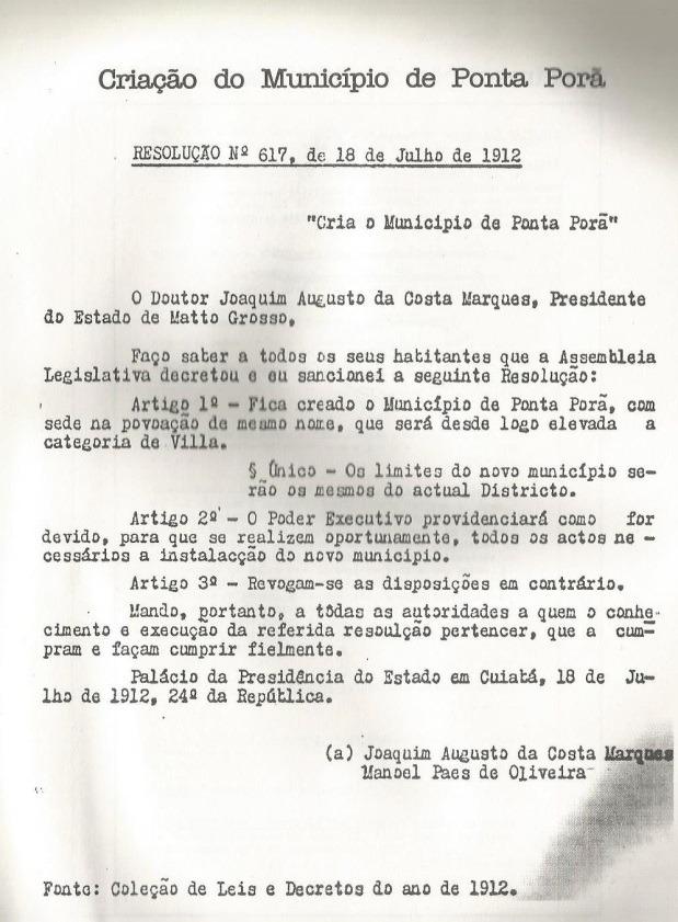Arquivo pessoal do autor resolução de 1912, fonte cópia publicada no livro do Drº João Portela Freira Terra, Gente e Fronteira.
