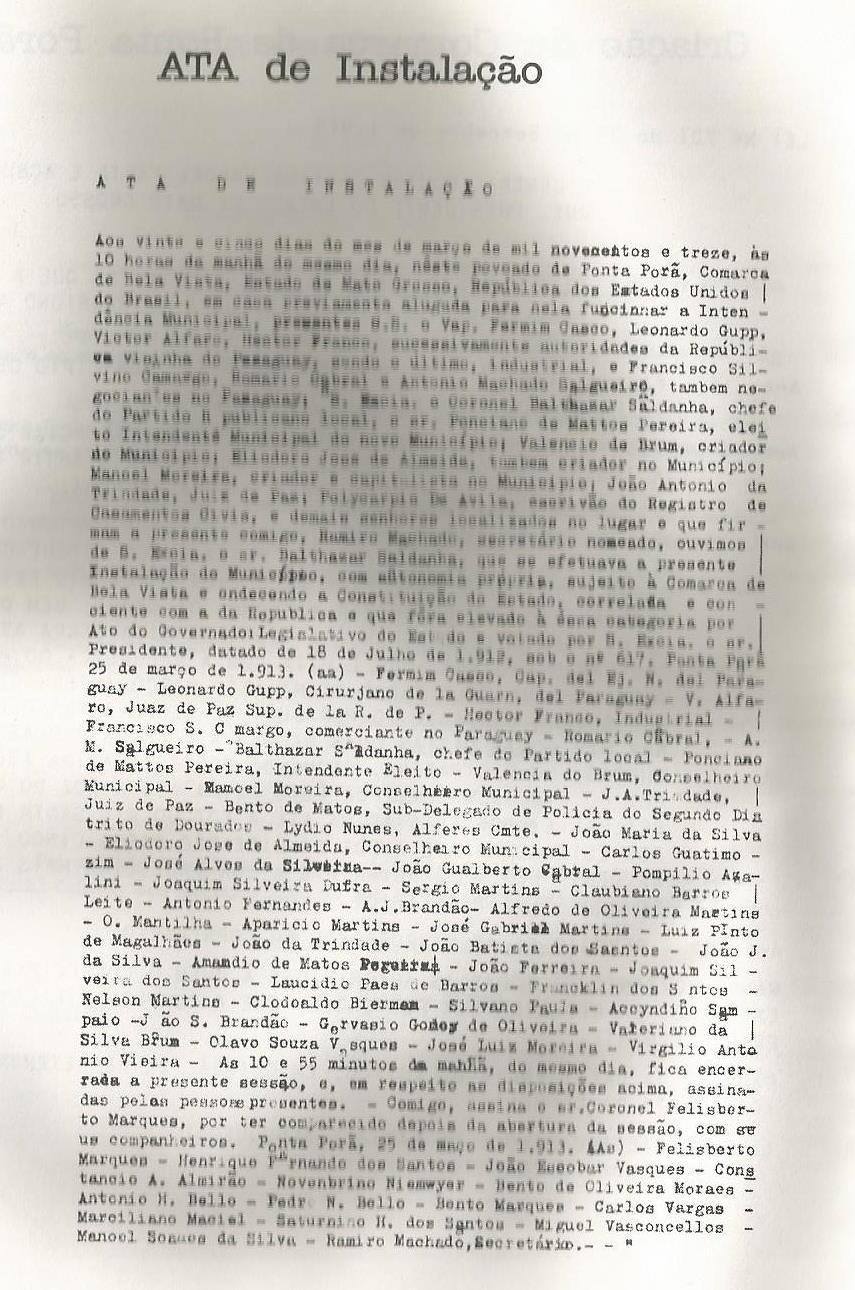 Arquivo pessoal do autor, Ata de Instalação. Fonte cópia publicada no livro do Drº João Portela Freira Terra, Gente e Fronteira.