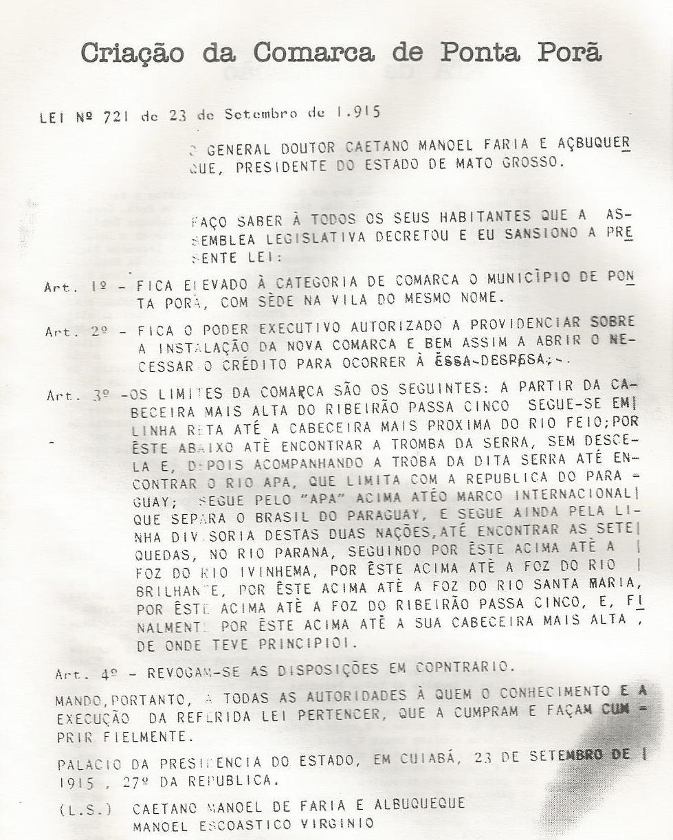Arquivo pessoal do autor, resolução Lei nº 721 de 23 de setembro de 1915. Fonte cópia publicada no livro do Drº João Portela Freira Terra, Gente e Fronteira.