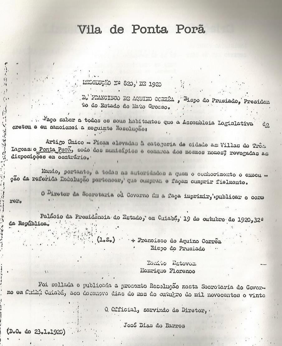 Arquivo pessoal do autor, resolução nº 820, de 1920. Fonte cópia publicada no livro do Drº João Portela Freira Terra, Gente e Fronteira.